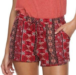 Mudd Peached Red Strpe Soft Shorts, Junior's XL